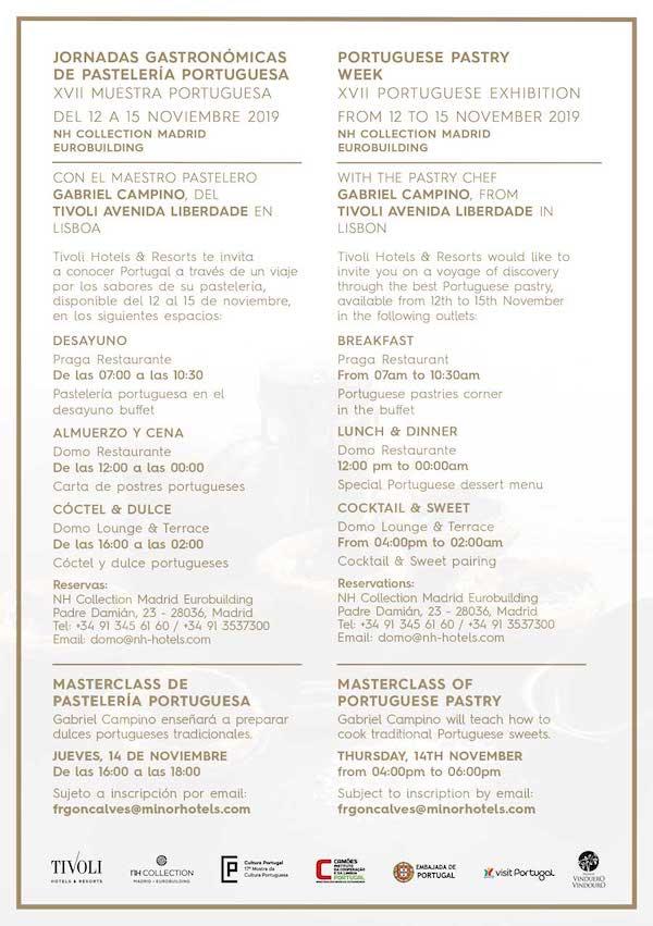 Programa de las Jornadas Gastronómicas de Pastelería Portuguesa