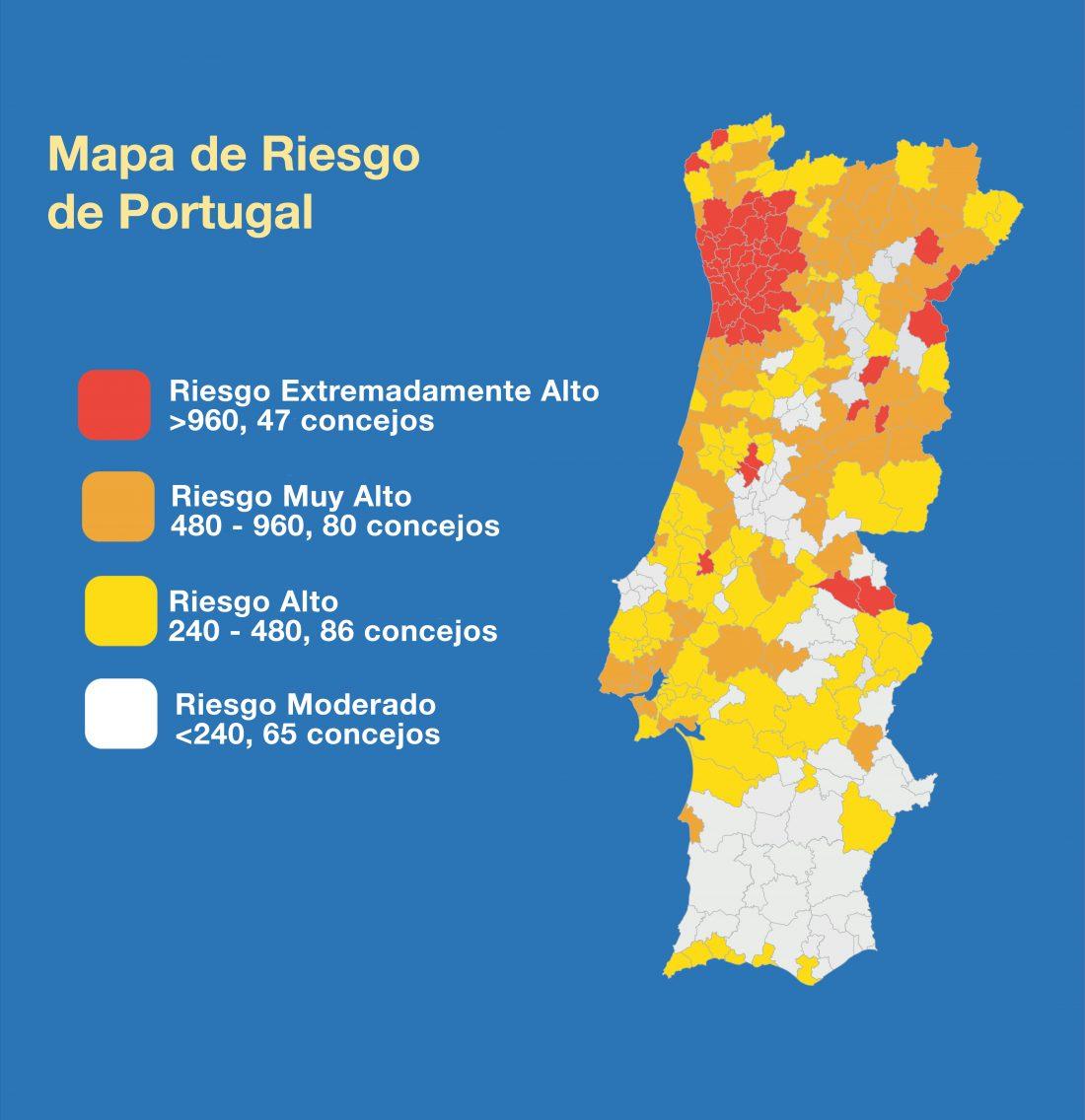 Mapa de riesgo concejos en Portugal